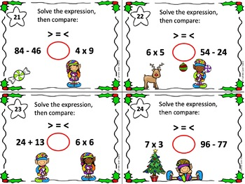 Christmas Multiplication - Greater Than Less Than Task Cards