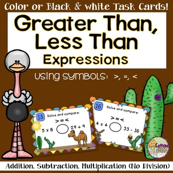 Greater Than, Less Than - Multiplication and Division Task Cards