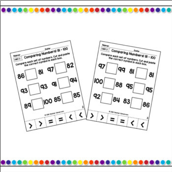 Bundle - Comparing Numbers from 0 to 100 Cut and Paste Activity