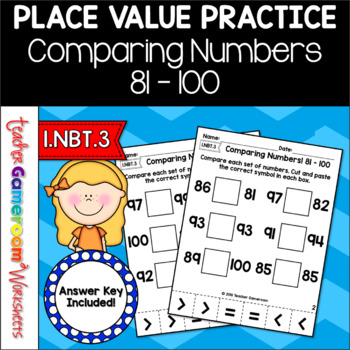 Comparing Numbers from 81 to 100 Cut and Paste Activity