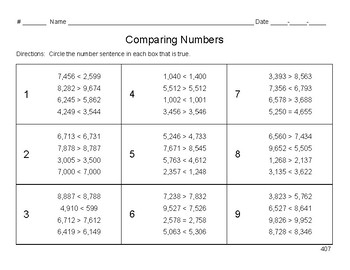 Comparing Numbers in Number Sentences