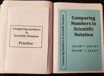 Comparing Numbers in Scientific Notation (Foldables)