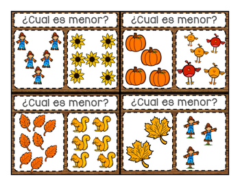 Comparing Numbers in Spanish! Fall theme