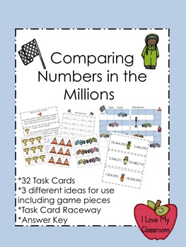 Comparing Numbers in the Millions Task Cards (Racing)