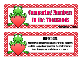 Comparing Numbers in the Thousands - Frogs - Activity Cards
