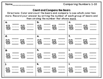 Comparing Numbers 1-10