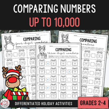 Comparing Numbers to 10,000 - Christmas Edition