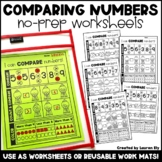 Comparing Numbers to 10 - No-Prep Worksheets OR Work Mats