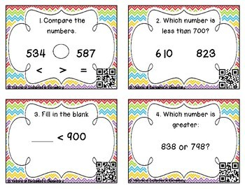 Comparing Numbers to 1000 Task Cards: 2nd Gr CC: Number & Operations in Base Ten