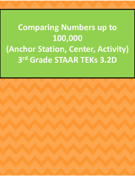3.2D Comparing Numbers up to 100,000 Activity 3rd Grade STAAR