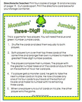 Comparing Numbers with 3 and 4 Digits ~ Monster Place Value Games