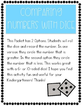 Comparing Numbers with Dice