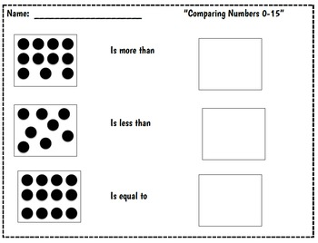 Comparing Numbers workmat