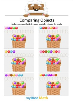 Comparing Objects 4 - Color the beads - Gr K