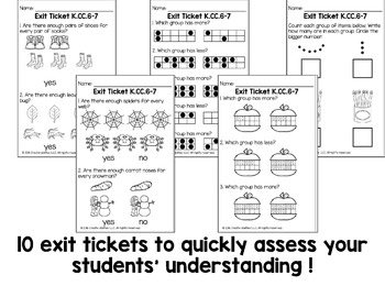 Comparing Objects and Numbers Math Tasks and Exit Tickets