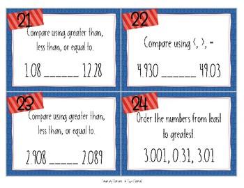 Comparing & Ordering Decimal Task Cards