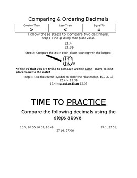 Comparing & Ordering Decimals Note Page