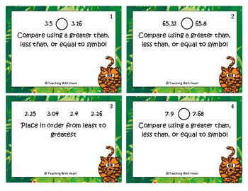Comparing Decimals and Ordering Decimals Scoot Activity/Task Cards