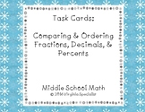 Comparing & Ordering Fractions, Decimals, and Percents Task Cards--Winter Border