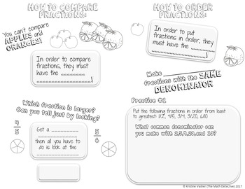 Comparing & Ordering Fractions - Doodle Notes Brochure for Interactive Notebooks