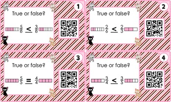 Comparing & Ordering Fractions QR Code Fun - CCSS 4.NF.2