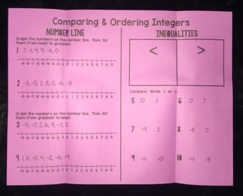 Comparing & Ordering Integers (Foldable)