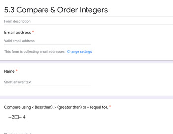 Comparing & Ordering Integers Google Forms