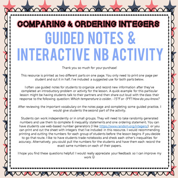 Comparing & Ordering Integers - Guided Notes & INB Activity - 6th Grade Go Math