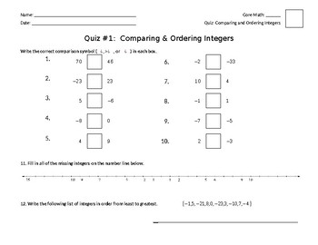 Comparing & Ordering Integers Quiz