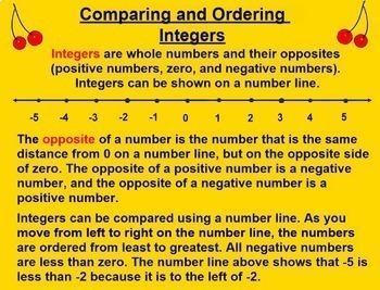 Comparing and Ordering Integers Smartboard Lesson Compare and Order Integers