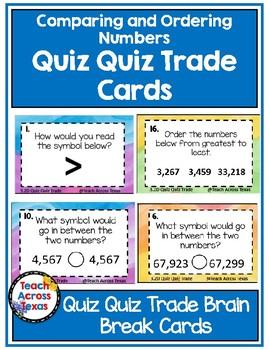 Comparing & Ordering Number Quiz Quiz Trade Brain Break Cards 3.2D