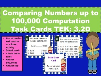 Comparing & Ordering Numbers Computation Task Cards STAAR