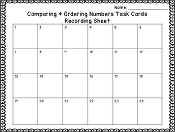 Comparing & Ordering Numbers Task Cards