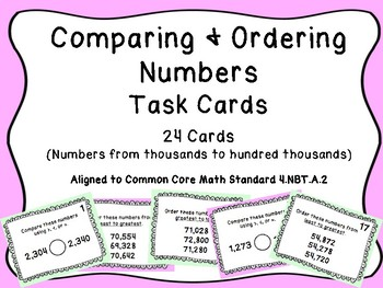 Comparing Amp Ordering Numbers Task Cards By Royal Resources