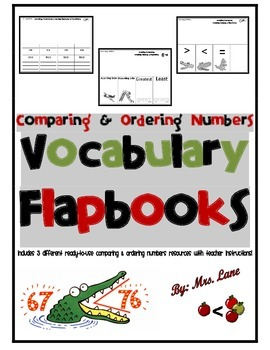 Comparing & Ordering Numbers Vocabulary Flapbooks