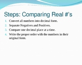 Comparing & Ordering Real Numbers Notes