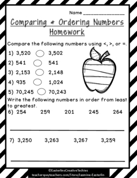 Comparing & Ordering Sheets