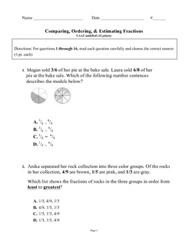 Comparing, Ordering , and Estimating Fractions Modified 4th grade test