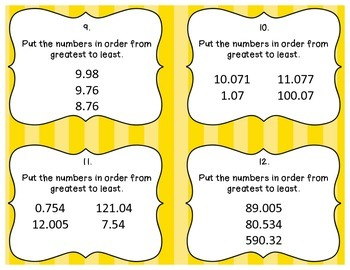 Comparing, Ordering, and Rounding Decimals Task Cards
