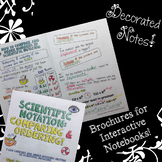 Comparing & Ordering in Scientific Notation - Decorated Notes Brochure for INBs