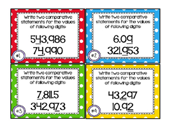 Comparing Place Values 5.NBT.1 Task Cards COMMON CORE ALIGNED!