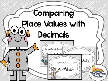Comparing Place Values with Decimals Task Cards Game Activity - Small Group