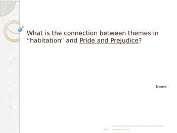 "Comparing Pride and Prejudice to ""Habitaiton"""