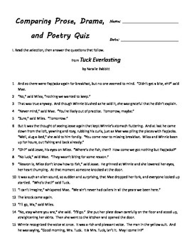 comparing prose poetry and drama quiz for fourth grade by mac daniel. Black Bedroom Furniture Sets. Home Design Ideas