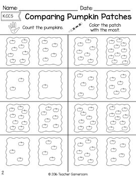 Comparing Pumpkin Patches - Math Worksheets K.CC.6