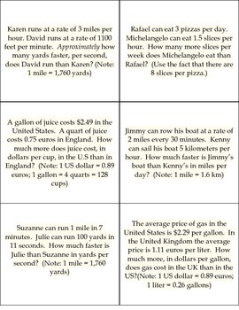 Comparing Rates Through Conversions Practice Cards