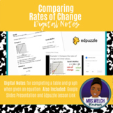 Comparing Rates of Change Digital Notes   Distance Learnin