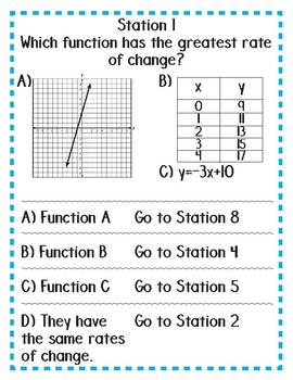 Comparing Rates of Change from Graphs, Tables, and Equations Stations Maze