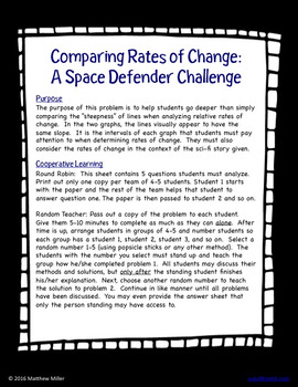 8.F.2 Comparing Rates of Change: A Space Defender Challenge