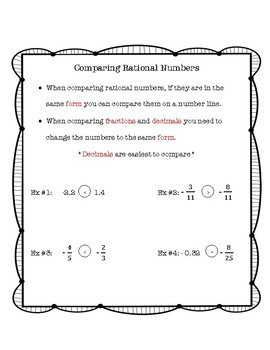 Comparing Rational Number Notes